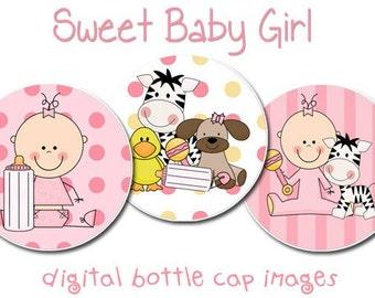 INSTANT DOWNLOAD Baby Girl Digital Bottle Cap Image Set, 1 inch Bottle Cap Images