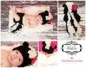 Crochet PATTERN skunk hat and diaper cover, baby le pew, little stinker,