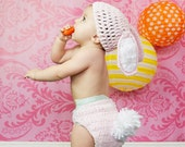 Baby Bunny hat and diaper cover, photo prop or costume for baby or toddler