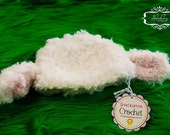 Crochet Lamb Hat and Diaper Cover photo prop, costume