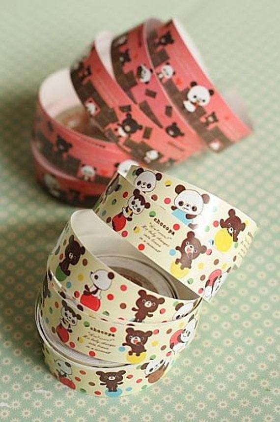 Kawaii paper decorative tape 2 rolls teddy bear tape for Decorative paper rolls