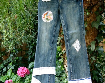 SALE Reborn jeans, butterfly, upcycled, bird, shabby chic, eco, boutique