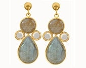 Labradorite and Rutilated Quartz Cluster Tear Drop Stud Earrings: Gold vermeil earrings with bezel set citrine, labradorite and Rutilated Quartz stones