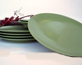Melamine Salad Plates, Seven Avocado Dessert Plates, Olive Green Retro Plastic Melmac