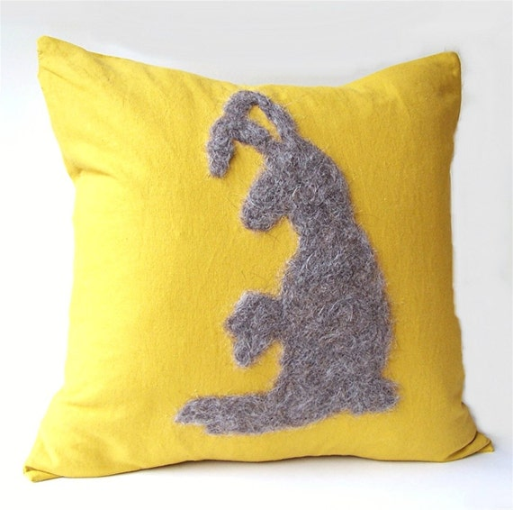 Personalized Pillow Cover, Felt Roving Jackrabbit Silhouette by viAnneli, Felt Customized Pillow, Made to Order
