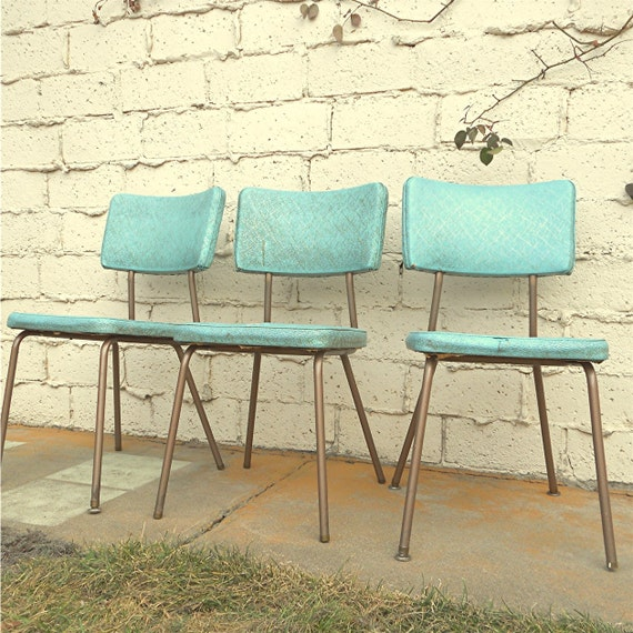 Vintage Kitchen Chairs, Three Vinyl Turquoise Chairs, Local Pick Up