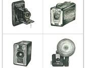 camera giclee print set - four 5x5 art prints - vintage camera watercolor prints (all black) // wall art // home decor