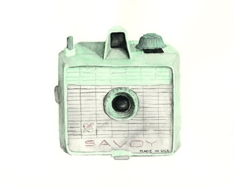 vintage camera watercolor giclee art print // SAVOY // print - home decor -- wall art