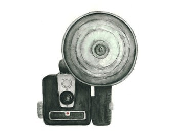 vintage camera watercolor giclee art print // WITH FLASH // 8x10 print -- home decor