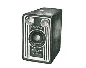 vintage camera watercolor giclee art print // BROWNIE // wall art -- home decor