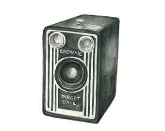 vintage camera watercolor giclee art print // BROWNIE // wall art -- home decor