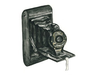 vintage camera watercolor giclee art print // FOLDING CAMERA // wall art - home decor