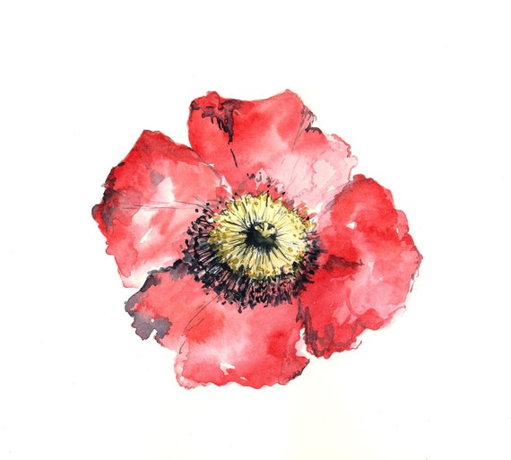 poppy watercolor giclee print // RED // 8x10 - art print -- home decor