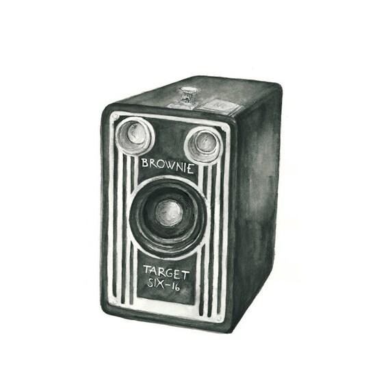 vintage camera watercolor giclee art print // BROWNIE // 8x10 // wall art -- home decor