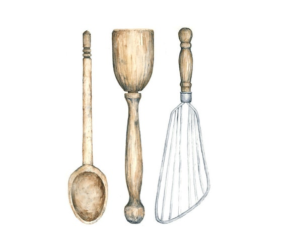 Antique Kitchen Utensils Watercolor Giclee Print 8x10