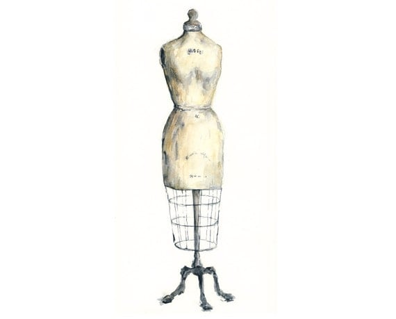 8x10 - vintage dress form giclee watercolor print