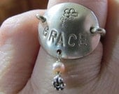 """Sterling Silver """"Grace"""" Stamped ring size 7.5"""