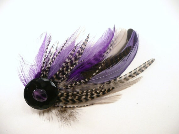 Black & White Grizzly, Purple and Gray Feather Hair Clip