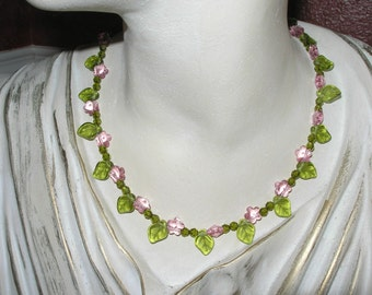 Pink and green Swarovski crystal flower aloha necklace