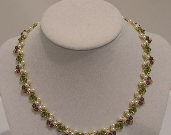 Amethyst, olive, and cream pearl picot necklace