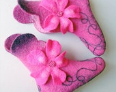 """Hand Felted cozy warm woolen slippers """"Flowers dream""""  Made to order"""