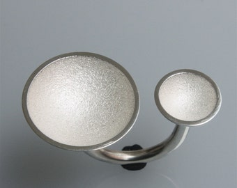 Silver ring 2 cups (big) white