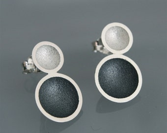 """Contemporary handmade earrings  in silver """"2cups Black and white"""""""