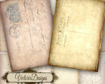 Tattered Postcard ATC digital background instant download printable collage sheet VD0043