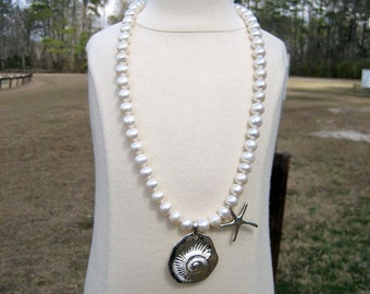 Freshwater Pearl Sterling Silver Sea Necklace