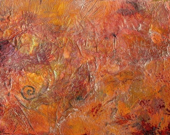 Gilded Orange, original abstract wall art, acrylic painting, heavily textured with layering and gilding. Small, affordable artwork on paper.