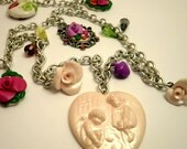 Angel Cameo Necklace Angels Long Necklace Angel Jewelry Victorian Necklace
