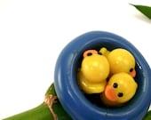 Ducks Bathing in Pool Adjustable Ring Handmade