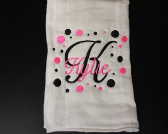 Personalized Embroidered Baby Burp Cloth