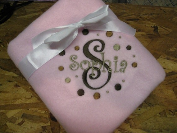 Baby Girl Embroidered Fleece Blanket Personalized Monogrammed B310