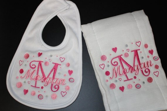 Baby Bib burp cloth personalized gift Set of 2 Baby boy or Girl any name or Monogram B101