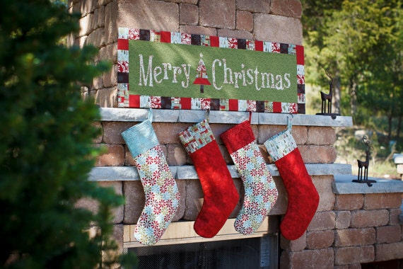 Nite Before Christmas Collection ALL 3 PDF patterns - Merry Christmas Wall Art, Hexagon Tree Skirt and Quilted Stocking