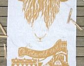 Oh, Cotswold Ewe Screen printed tea towel