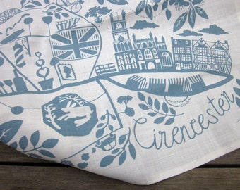 Linen screen printed Cirencester tea towel