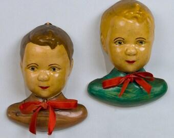 Vintage Chalkware Boys