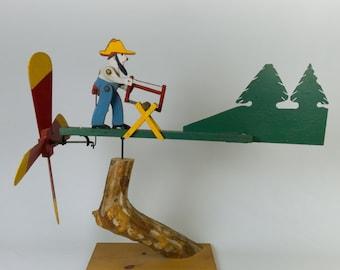Vintage Folk Art Americana Wood Cutter Weathervane-Whirligig Collectible Art