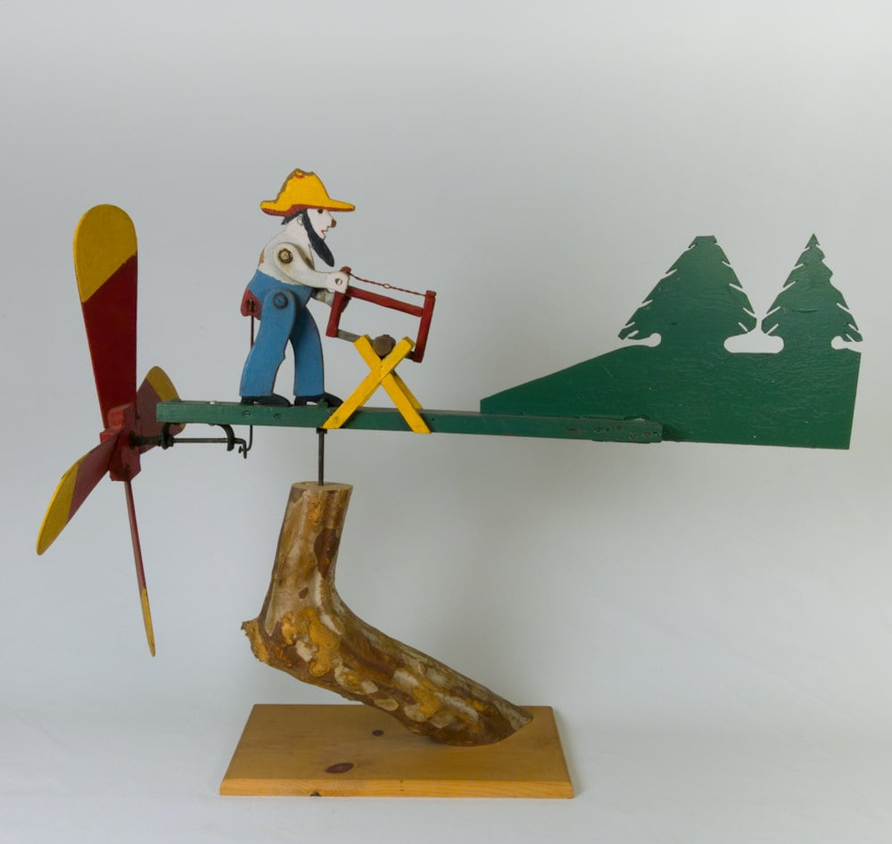 Vintage Wooden Weathervanes: Vintage Folk Art Americana Wood Cutter Weathervane-Whirligig