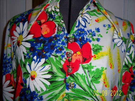 1960's Floral Print Handmade Long Maxi Shiftdress with Sash Tie Belt - Size Large