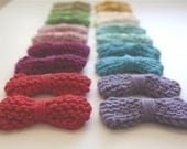 5 knitted hair bow clips  - choose your colors