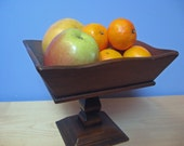 Wooden fruit bowl or small plant stand. Vintage home decor