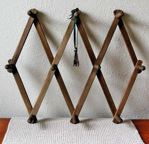 vintage large wood expandable wall rack