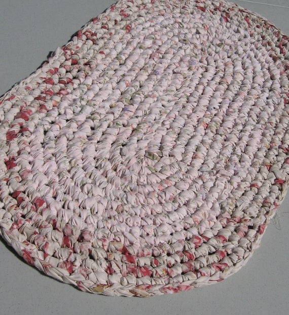 Crocheted Rustic Oval Rag Rug Table Mat Pale Pink By