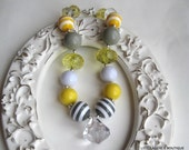 Chunky Bubblegum Beaded Necklace- Beautiful Yellow and Grey Necklace-Persnickety M2M