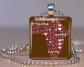 Personalized African Continent Glass Tile Pendant