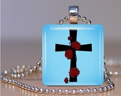 Aqua Cross Pendant with Rose Accents - Necklace or Keychain