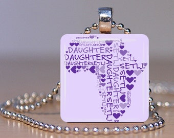 Daughter/SetLj Amharic Ethiopian Adoption Personalized Glass Tile Pendant